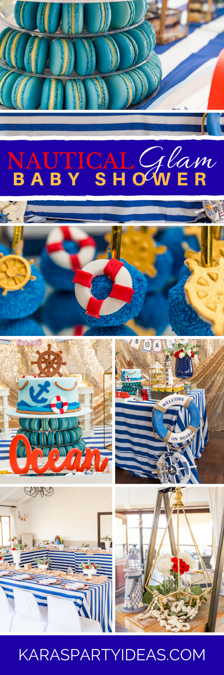 Nautical Glam Baby Shower via Kara's Party Ideas - KarasPartyIdeas.com