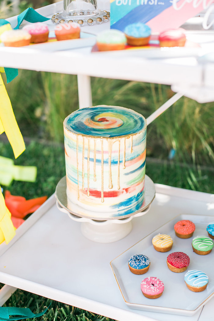 Watercolor cake from an Over the Rainbow Birthday Party on Kara's Party Ideas | KarasPartyIdeas.com (25)