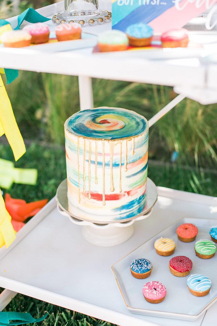 Watercolor cake from an Over the Rainbow Birthday Party on Kara's Party Ideas | KarasPartyIdeas.com (25)