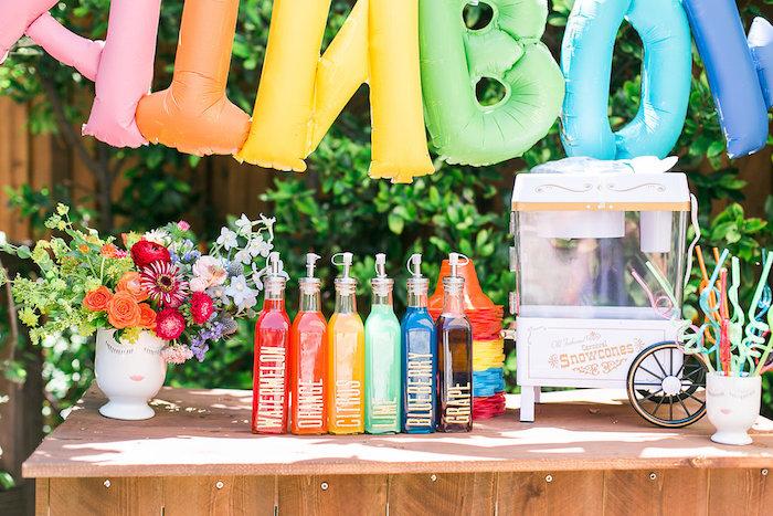 Drink + snow cone bar from an Over the Rainbow Birthday Party on Kara's Party Ideas | KarasPartyIdeas.com (23)