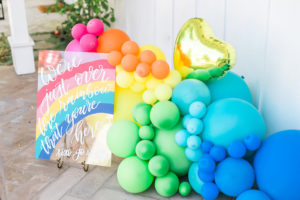 Rainbow balloon installation from an Over the Rainbow Birthday Party on Kara's Party Ideas | KarasPartyIdeas.com (41)