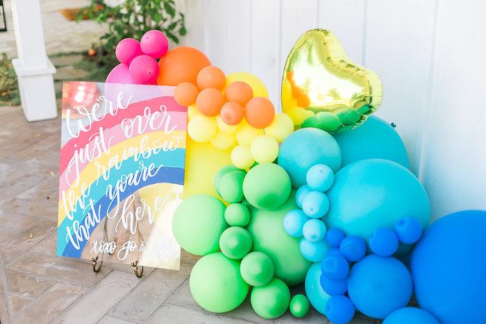 Rainbow balloon installation from an Over the Rainbow Birthday Party on Kara's Party Ideas | KarasPartyIdeas.com (41)