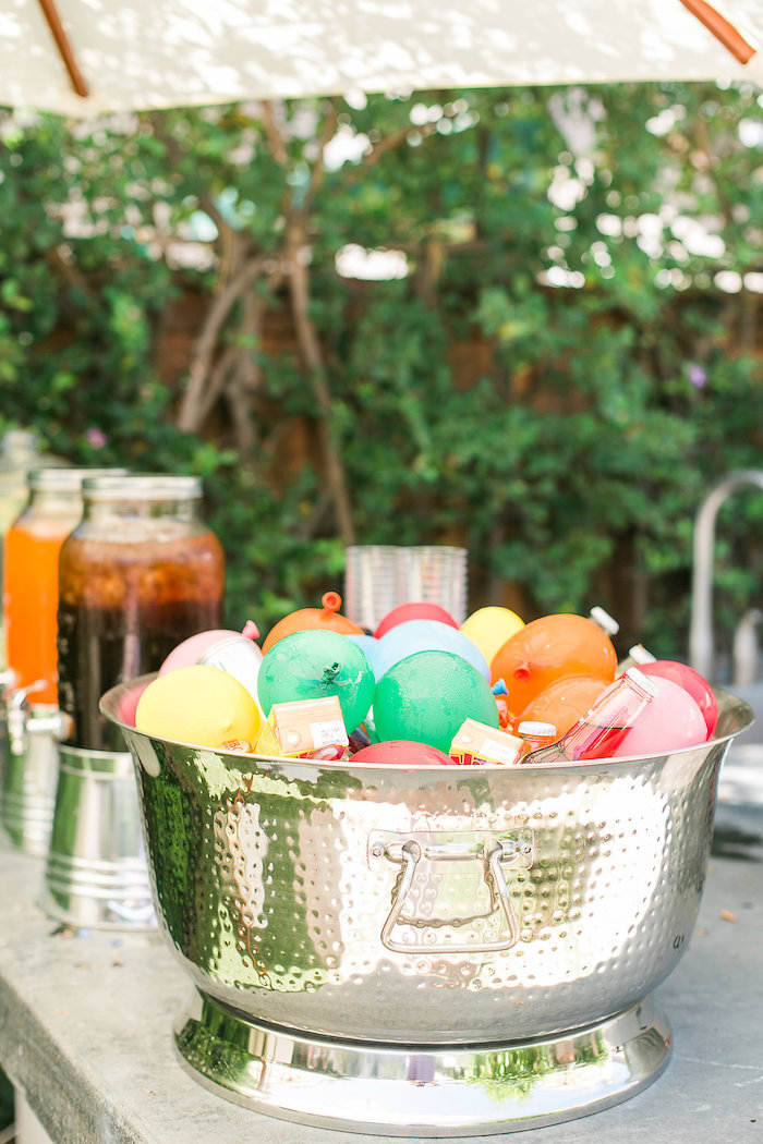 Balloon drink bin from an Over the Rainbow Birthday Party on Kara's Party Ideas | KarasPartyIdeas.com (21)