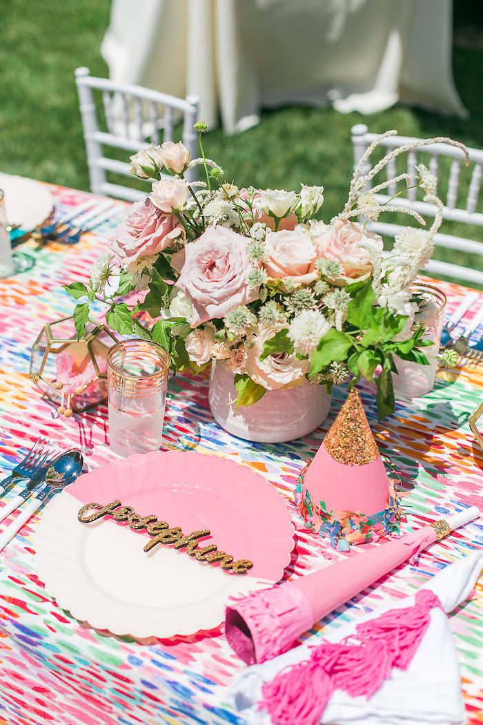 Pink place setting from an Over the Rainbow Birthday Party on Kara's Party Ideas | KarasPartyIdeas.com (17)