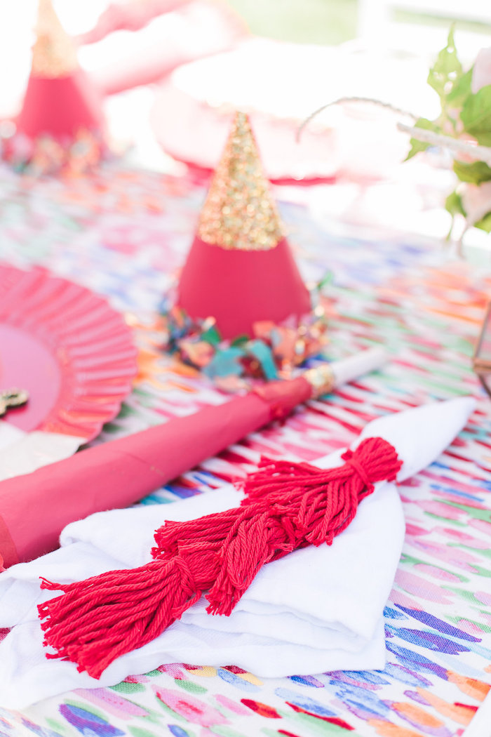 Tassel napkin from an Over the Rainbow Birthday Party on Kara's Party Ideas | KarasPartyIdeas.com (16)