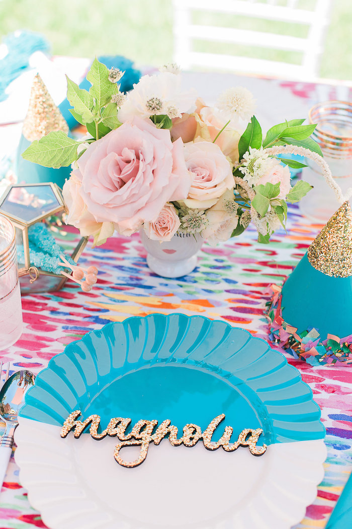 Guest table floral centerpiece + place setting from an Over the Rainbow Birthday Party on Kara's Party Ideas | KarasPartyIdeas.com (15)