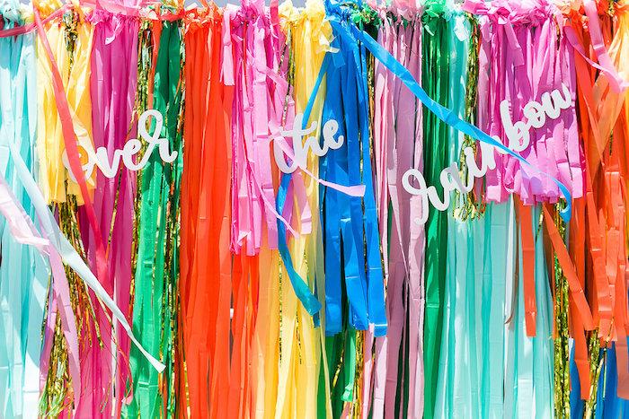 Rainbow ribbon backdrop from an Over the Rainbow Birthday Party on Kara's Party Ideas | KarasPartyIdeas.com (13)