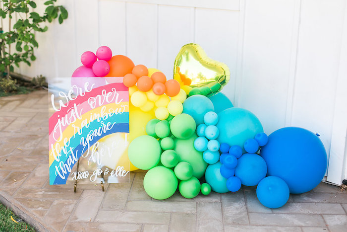 Rainbow balloon installation from an Over the Rainbow Birthday Party on Kara's Party Ideas | KarasPartyIdeas.com (40)