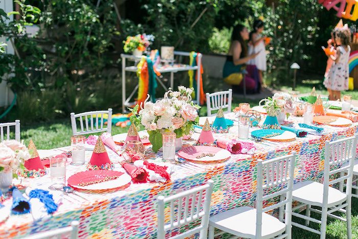 Rainbow guest table from an Over the Rainbow Birthday Party on Kara's Party Ideas | KarasPartyIdeas.com (12)