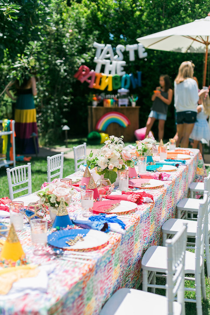 Rainbow guest table from an Over the Rainbow Birthday Party on Kara's Party Ideas | KarasPartyIdeas.com (11)