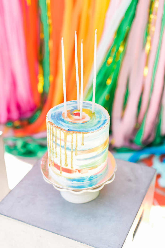 Watercolor drip cake from an Over the Rainbow Birthday Party on Kara's Party Ideas | KarasPartyIdeas.com (8)