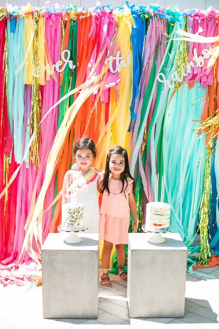 Rainbow photo booth from an Over the Rainbow Birthday Party on Kara's Party Ideas | KarasPartyIdeas.com (7)