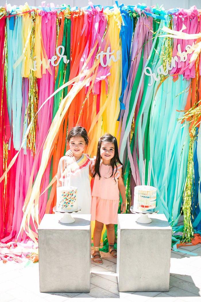 Rainbow photo booth from an Over the Rainbow Birthday Party on Kara's Party Ideas | KarasPartyIdeas.com (7)