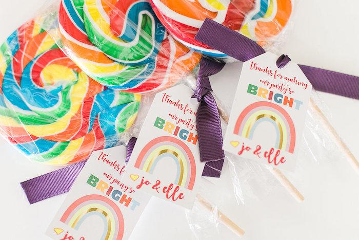 Rainbow lollipop favors from an Over the Rainbow Birthday Party on Kara's Party Ideas | KarasPartyIdeas.com (6)