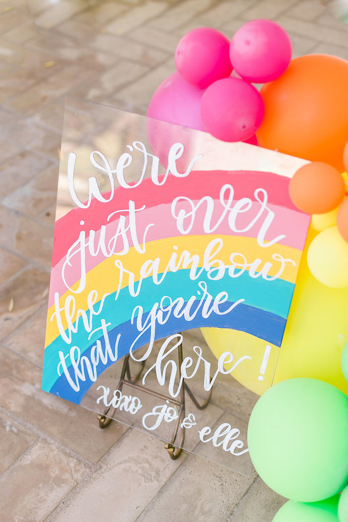 Rainbow sign from an Over the Rainbow Birthday Party on Kara's Party Ideas | KarasPartyIdeas.com (38)