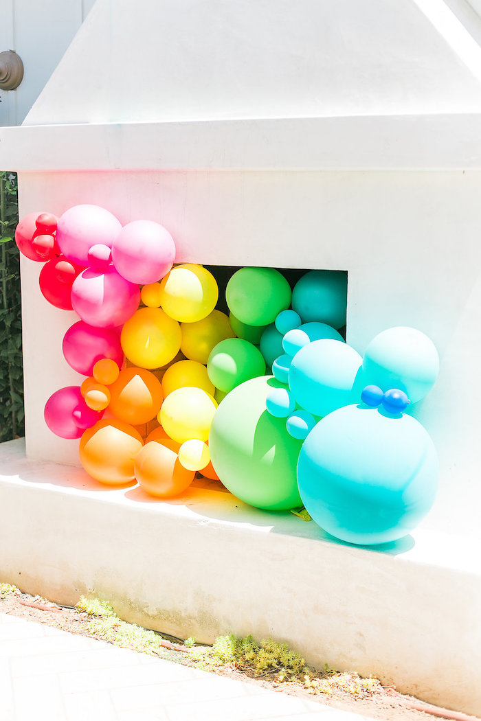 Rainbow balloon installation from an Over the Rainbow Birthday Party on Kara's Party Ideas | KarasPartyIdeas.com (34)
