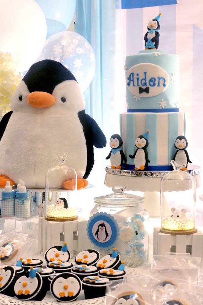 Cake table from a Penguin Party on Kara's Party Ideas | KarasPartyIdeas.com (10)