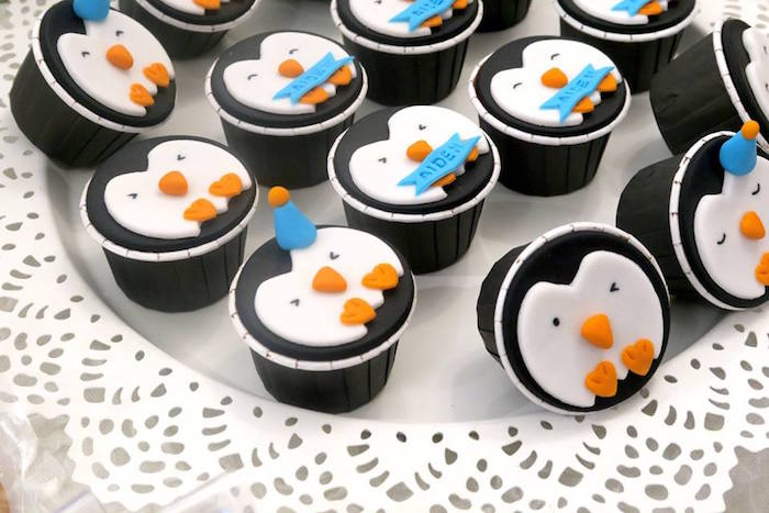 Penguin cupcakes from a Penguin Party on Kara's Party Ideas | KarasPartyIdeas.com (18)