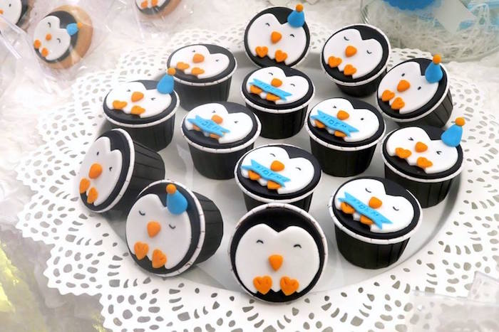 Penguin cupcakes from a Penguin Party on Kara's Party Ideas | KarasPartyIdeas.com (17)