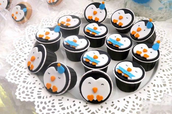 Penguin cupcakes from a Penguin Party on Kara's Party Ideas | KarasPartyIdeas.com (17)