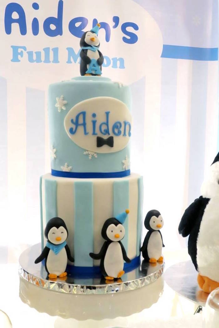 Penguin cake from a Penguin Party on Kara's Party Ideas | KarasPartyIdeas.com (16)