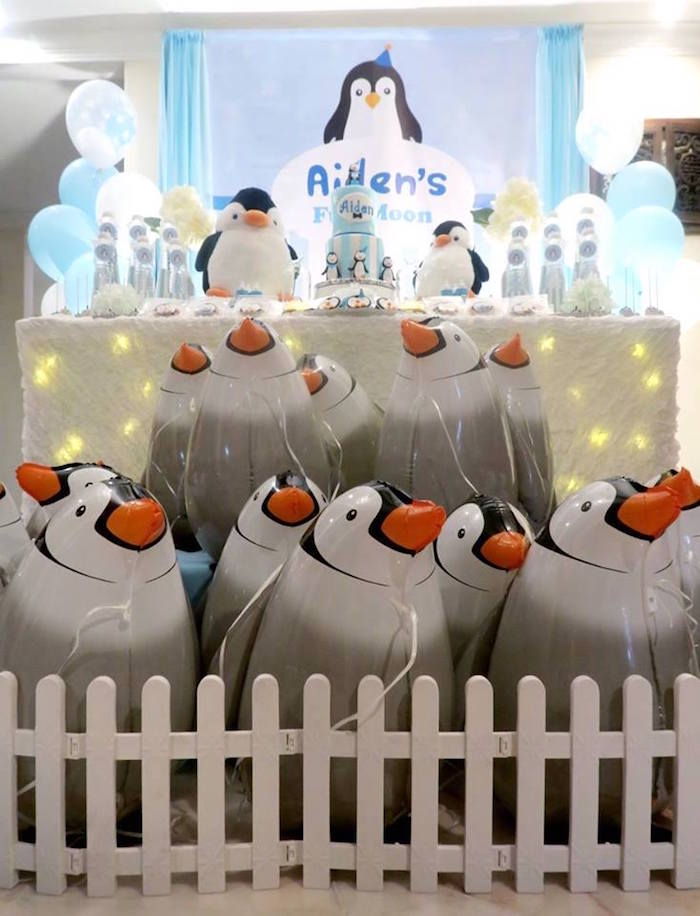 Penguin balloon favors + dessert table from a Penguin Party on Kara's Party Ideas | KarasPartyIdeas.com (15)