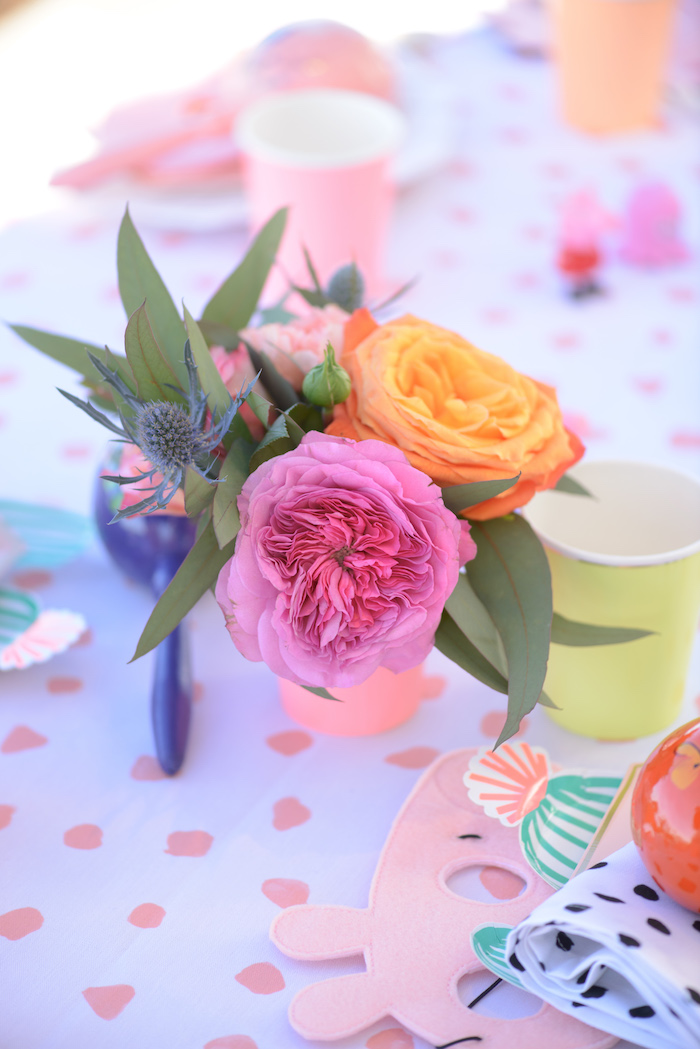 Fiesta table blooms from a Peppa Pig Birthday Fiesta on Kara's Party Ideas | KarasPartyIdeas.com (34)
