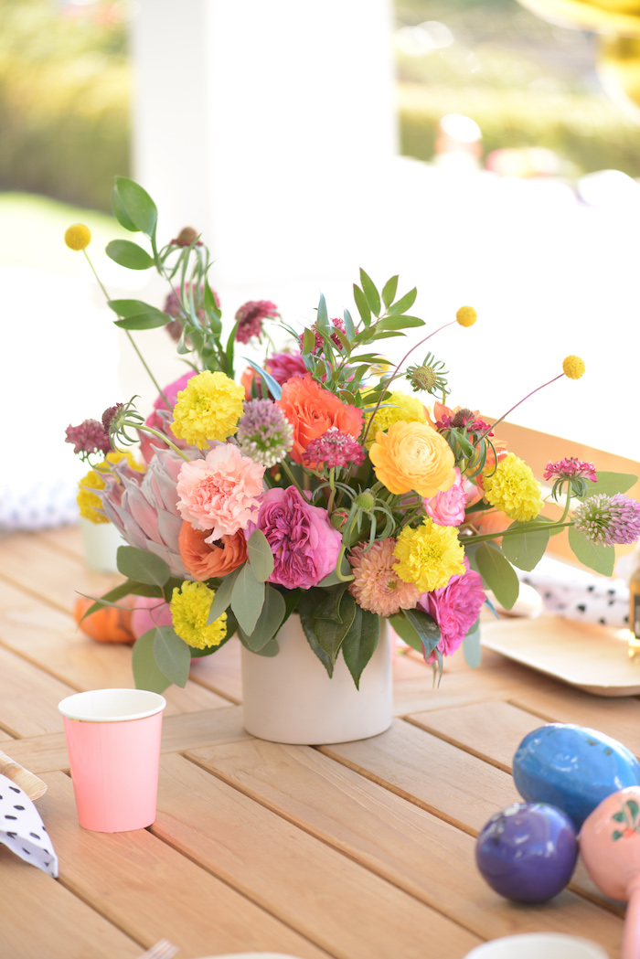 Floral centerpiece from a Peppa Pig Birthday Fiesta on Kara's Party Ideas | KarasPartyIdeas.com (23)