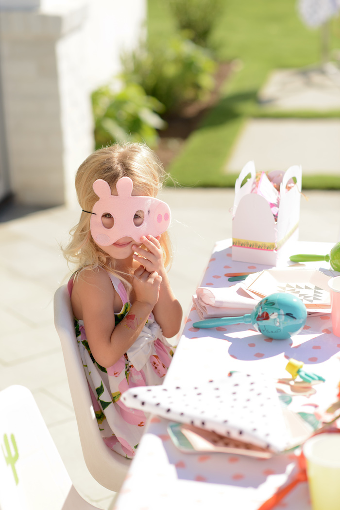 Peppa Pig Mask from a Peppa Pig Birthday Fiesta on Kara's Party Ideas | KarasPartyIdeas.com (20)