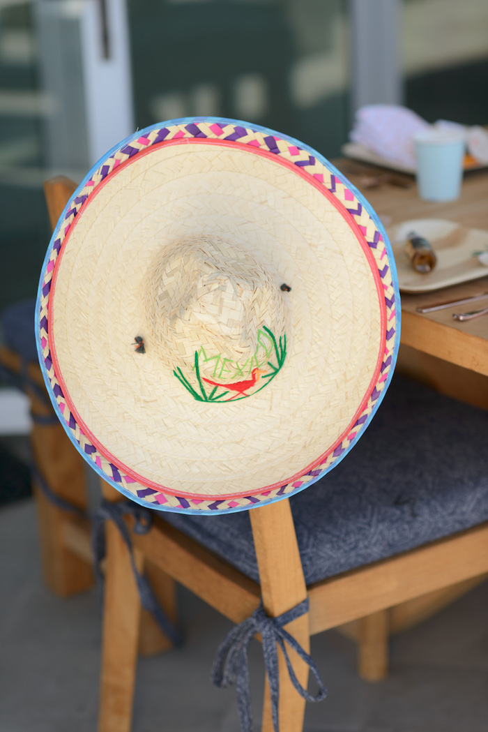 Sombrero-adorned guest chair from a Peppa Pig Birthday Fiesta on Kara's Party Ideas | KarasPartyIdeas.com (13)