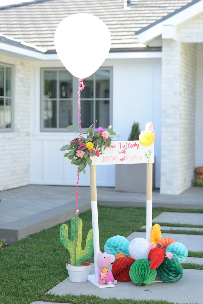 Welcome Signage from a Peppa Pig Birthday Fiesta on Kara's Party Ideas | KarasPartyIdeas.com (37)