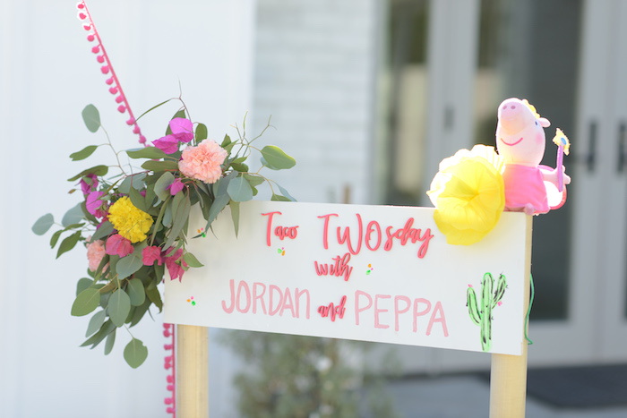 Welcome Signage from a Peppa Pig Birthday Fiesta on Kara's Party Ideas | KarasPartyIdeas.com (36)