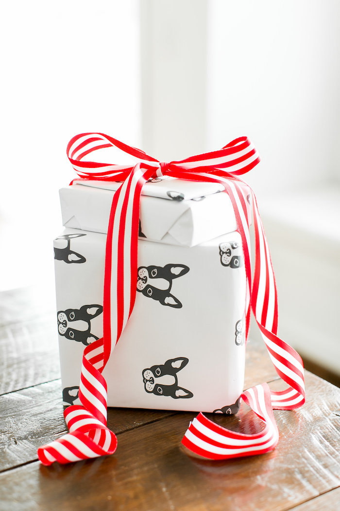 Puppy-wrapped gift boxes from a Pet Adoption Birthday Party on Kara's Party Ideas | KarasPartyIdeas.com (7)
