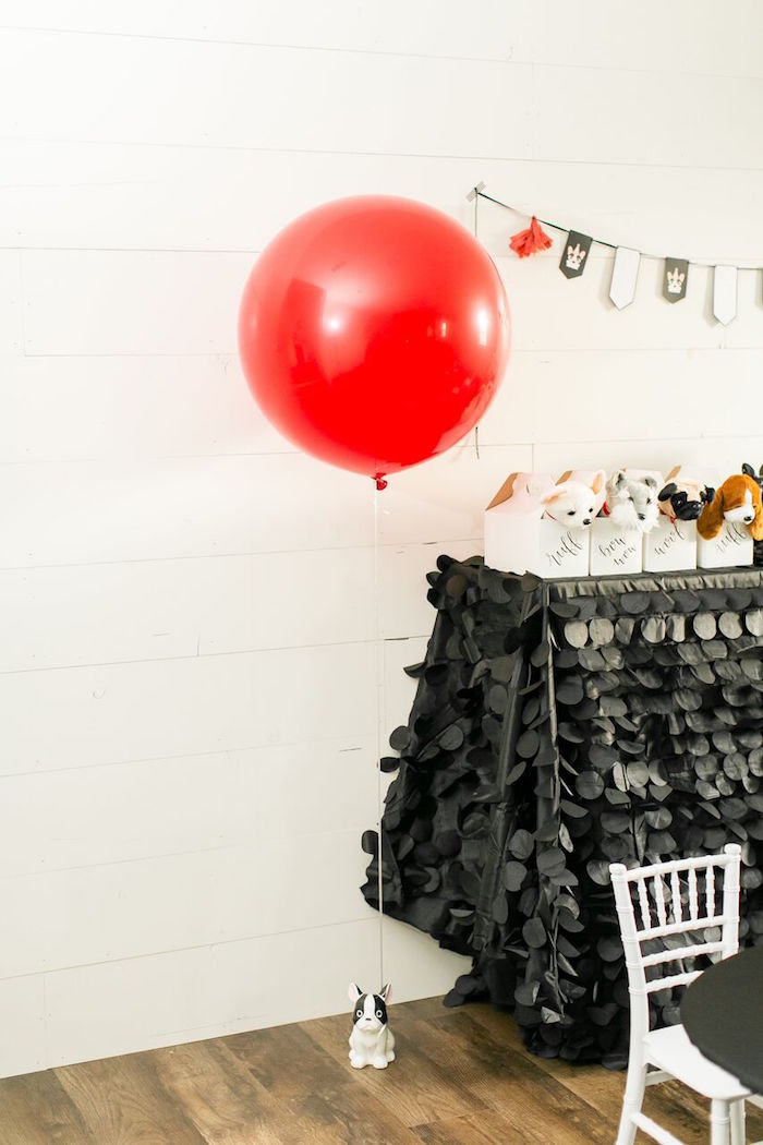 Red jumbo balloon with puppy weight from a Pet Adoption Birthday Party on Kara's Party Ideas | KarasPartyIdeas.com (35)