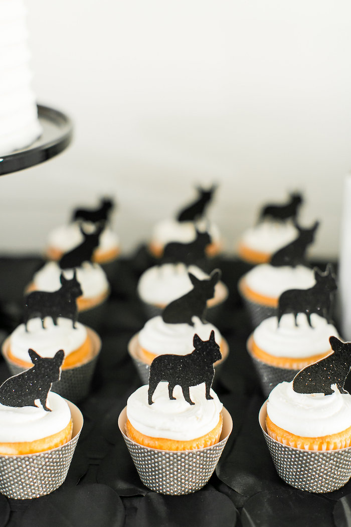 Pup silhouette cupcakes from a Pet Adoption Birthday Party on Kara's Party Ideas | KarasPartyIdeas.com (30)