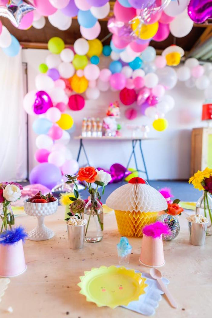 Guest table from a Rainbow Trolls Disco Birthday Party on Kara's Party Ideas | KarasPartyIdeas.com (15)