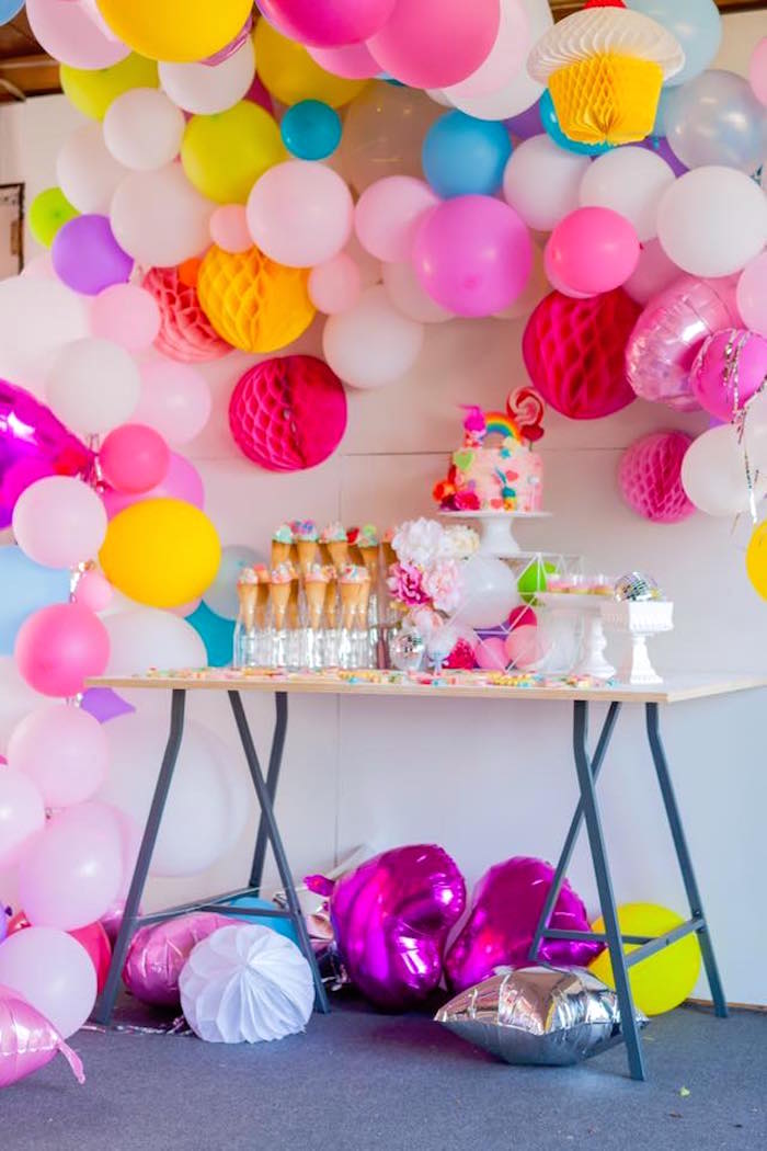 Dessert table from a Rainbow Trolls Disco Birthday Party on Kara's Party Ideas | KarasPartyIdeas.com (13)