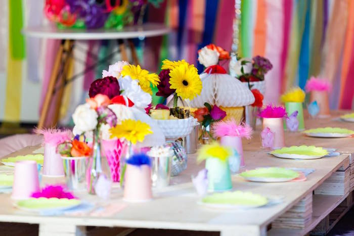 Guest table from a Rainbow Trolls Disco Birthday Party on Kara's Party Ideas | KarasPartyIdeas.com (12)