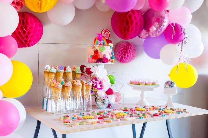 Sweet table from a Rainbow Trolls Disco Birthday Party on Kara's Party Ideas | KarasPartyIdeas.com (11)