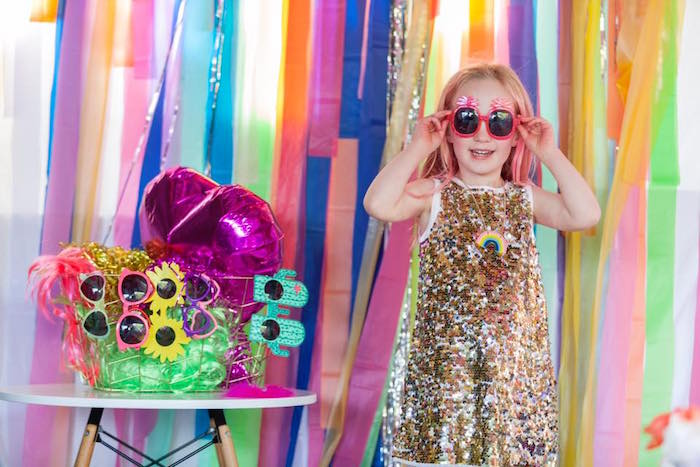 Rainbow ribbon photo booth from a Rainbow Trolls Disco Birthday Party on Kara's Party Ideas | KarasPartyIdeas.com (10)