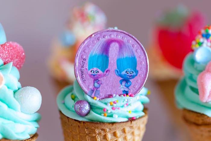 Cupcake from a Rainbow Trolls Disco Birthday Party on Kara's Party Ideas | KarasPartyIdeas.com (9)