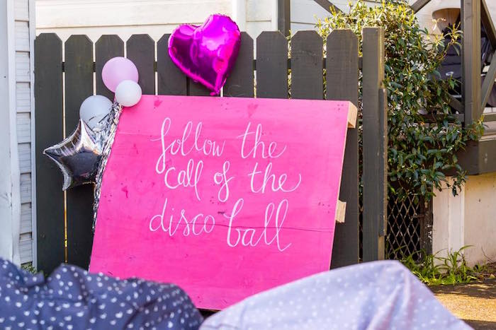 Follow the Call of the Disco Ball Sign from a Rainbow Trolls Disco Birthday Party on Kara's Party Ideas | KarasPartyIdeas.com (8)
