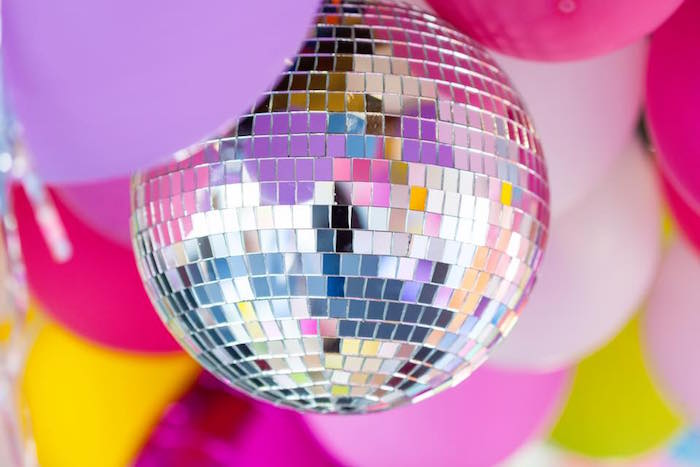 Disco ball from a Rainbow Trolls Disco Birthday Party on Kara's Party Ideas | KarasPartyIdeas.com (26)