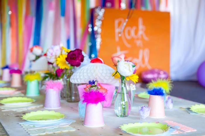 Guest tablescape from a Rainbow Trolls Disco Birthday Party on Kara's Party Ideas | KarasPartyIdeas.com (7)