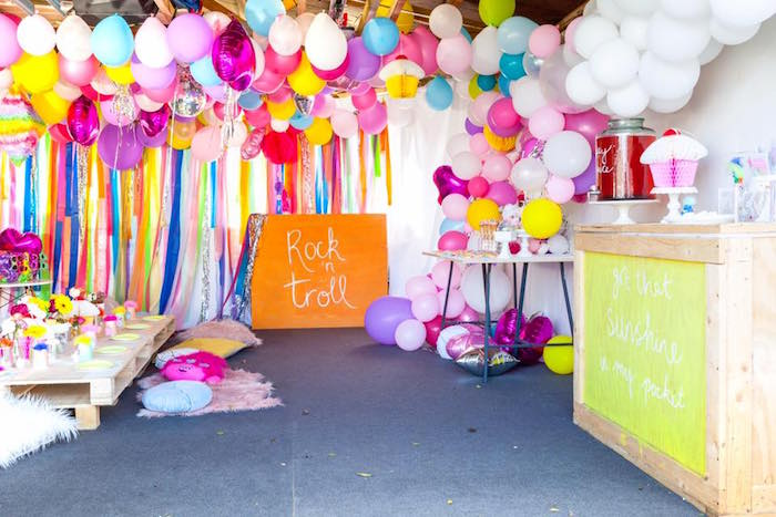Party spread from a Rainbow Trolls Disco Birthday Party on Kara's Party Ideas | KarasPartyIdeas.com (6)