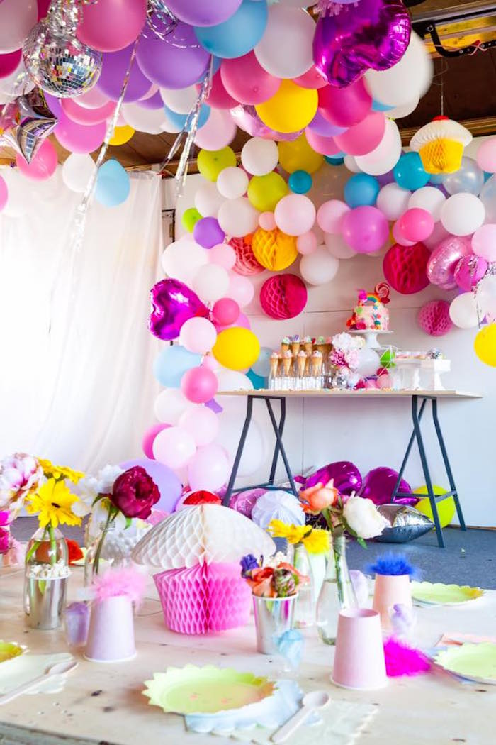 Party tables from a Rainbow Trolls Disco Birthday Party on Kara's Party Ideas | KarasPartyIdeas.com (4)