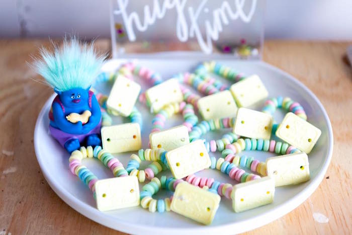 Candy bracelets from a Rainbow Trolls Disco Birthday Party on Kara's Party Ideas | KarasPartyIdeas.com (3)