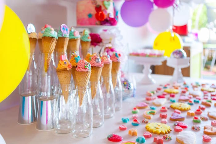 Dessert table detail from a Rainbow Trolls Disco Birthday Party on Kara's Party Ideas | KarasPartyIdeas.com (25)
