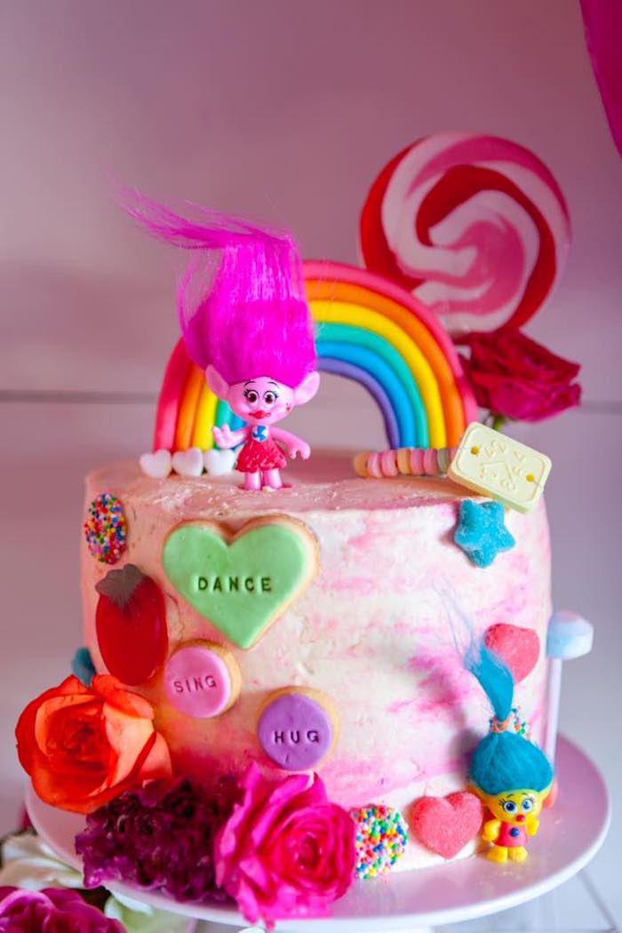 Trolls Cake from a Rainbow Trolls Disco Birthday Party on Kara's Party Ideas | KarasPartyIdeas.com (24)