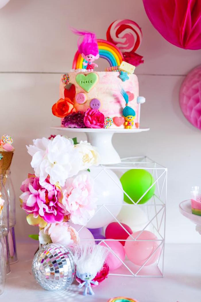 Cakescape + wire balloon pedestal from a Rainbow Trolls Disco Birthday Party on Kara's Party Ideas | KarasPartyIdeas.com (21)